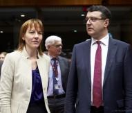 Ilze Juhansone, Latvia Permanent Representative to the EU, and Janis Reirs, Latvian Finance Minister
